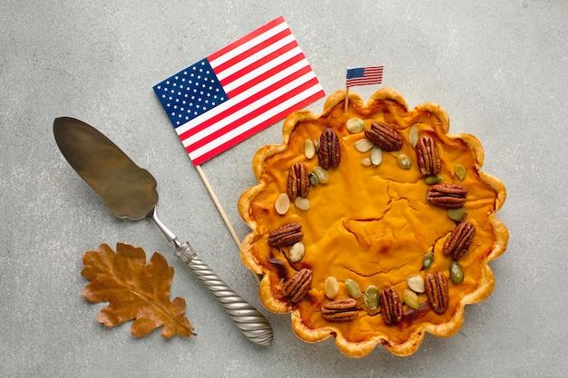 Vista superior da deliciosa torta de abóbora de ação de graças