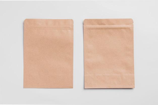 Vista superior da embalagem de papel de padaria