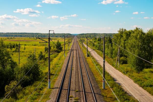 Vista superior da estrada de ferro e da floresta