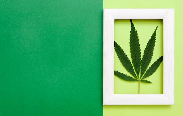 Vista superior da folha de cannabis em moldura branca em fundo de papel com espaço de cópia