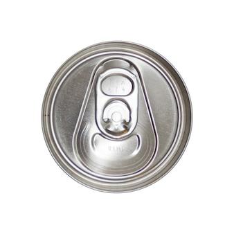 Vista superior da lata de refrigerante de prata isolada