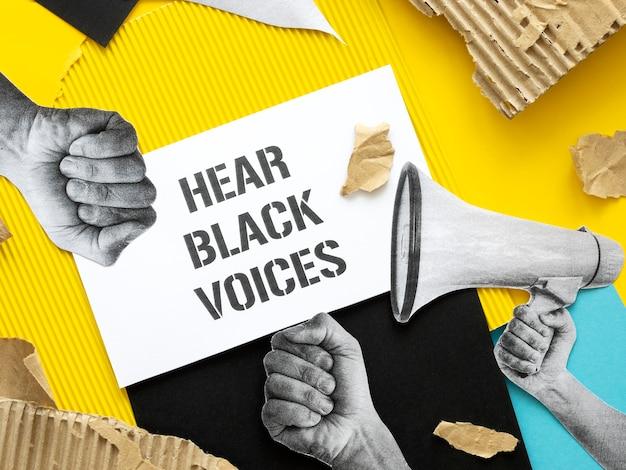 Vista superior da mensagem de vida negra