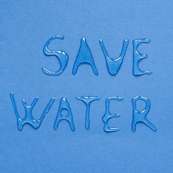 Vista superior da mensagem feita de água