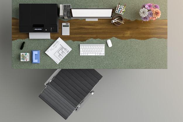 Vista superior da mesa do escritório