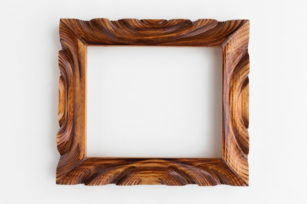 Vista superior da moldura de madeira com espaço de cópia