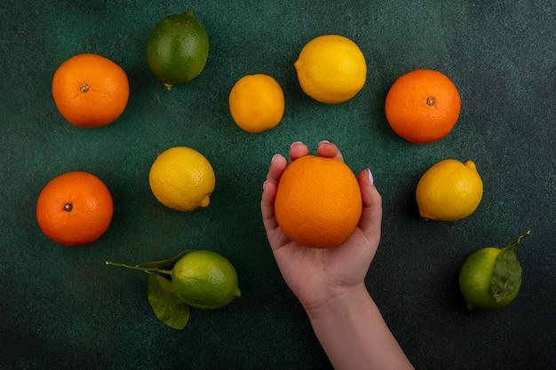 Vista superior da mulher segurando uma laranja com limões e limas sobre fundo verde