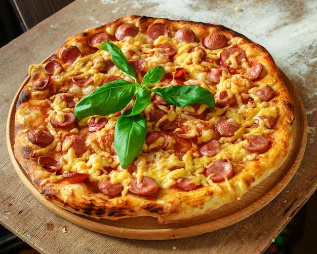 Vista superior da pizza saborosa