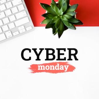 Vista superior da planta e teclado para cyber segunda-feira
