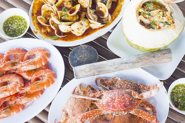 Vista superior da refeição de comida do mar