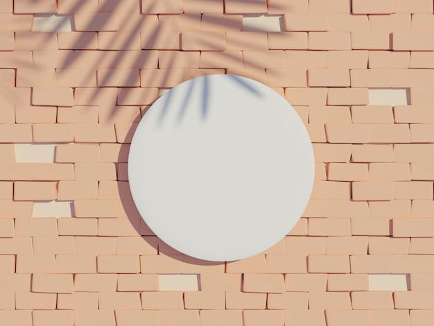 Vista superior da renderização 3d da moldura do cilindro branco em branco para produtos de simulação e exibição