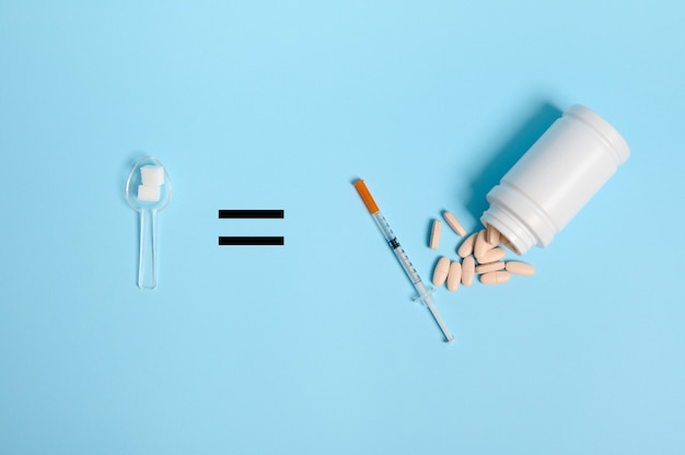 Vista superior da seringa de insulina e pílulas farmacêuticas espalhadas do recipiente sobre fundo azul, sinal de igual e colher de medição com cubos de açúcar branco, copie o espaço para o dia mundial da conscientização sobre o diabetes. de anúncios