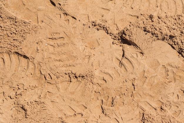 Vista superior da superfície da areia para o fundo
