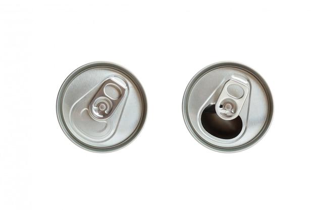 Vista superior da tampa fechada e aberta da lata de refrigerante