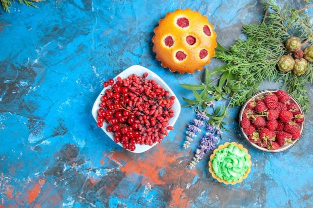Vista superior da tigela de framboesa, pequena torta, groselha e bérberis na tigela, bolo de frutas vermelhas e galhos de árvores na superfície azul