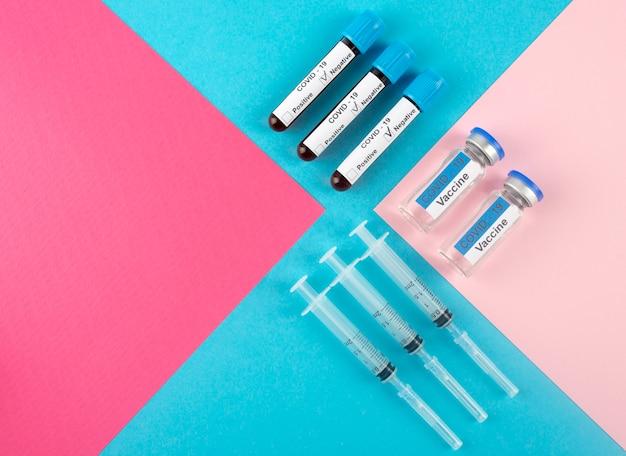 Vista superior da vacina e testes