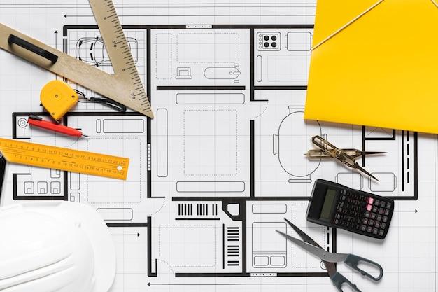 Vista superior da variedade de diferentes elementos do projeto arquitetônico
