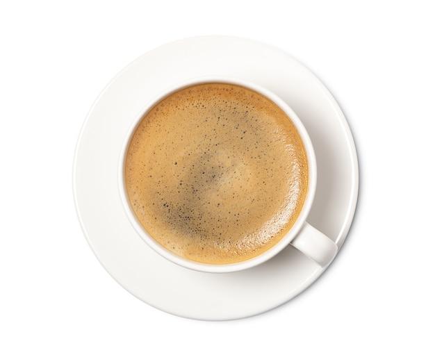 Vista superior da xícara de café isolada no branco