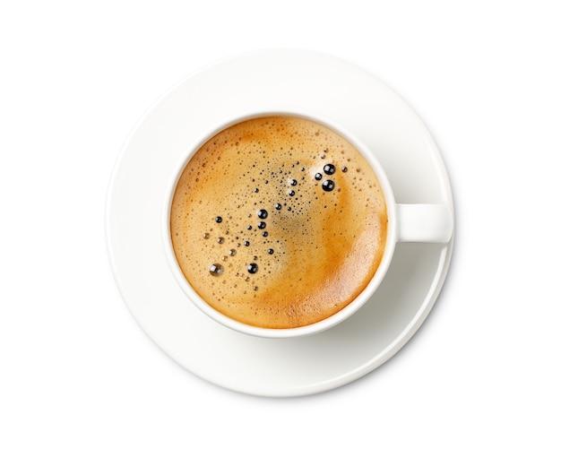 Vista superior da xícara de café isolada no fundo branco. com traçado de recorte.