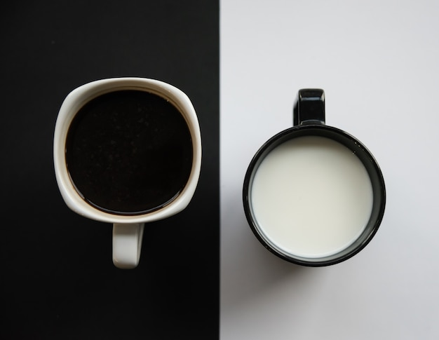 Vista superior da xícara de café