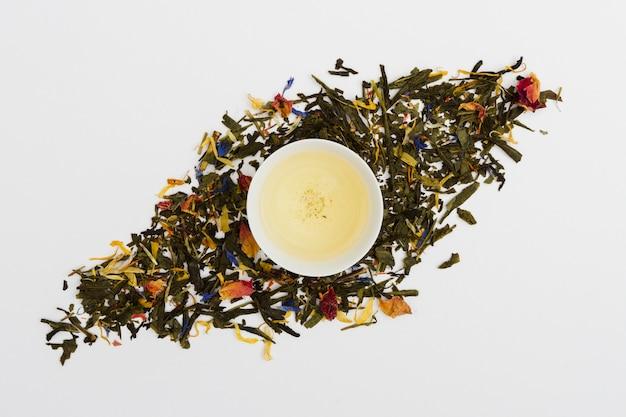 Vista superior da xícara de chá com folhas