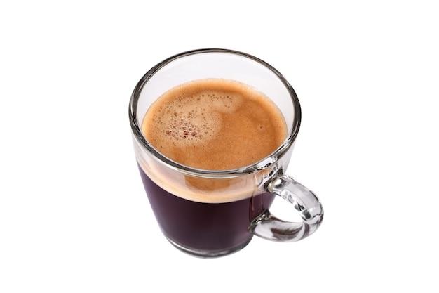 Vista superior da xícara de vidro de café expresso isolada no fundo branco