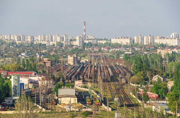 Vista superior da zona industrial de odessa, ucrânia