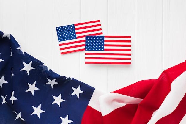 Vista superior das bandeiras americanas para o dia da independência