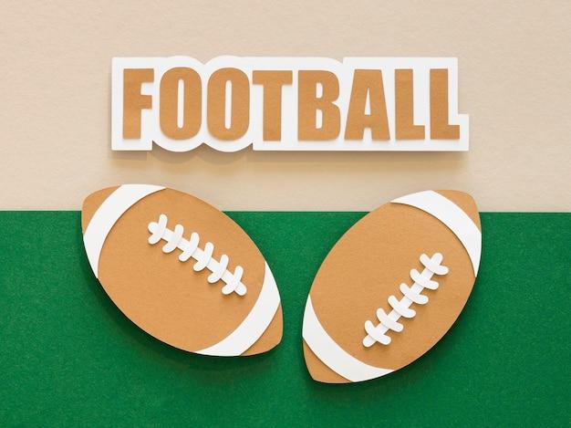 Vista superior das bolas de futebol americanas