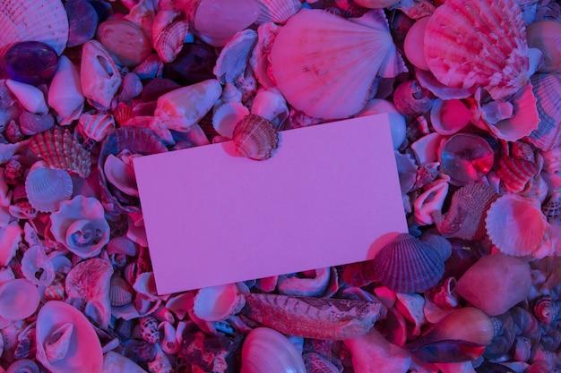 Vista superior das conchas do mar com folha de papel para texto em luz de néon. fundo abstrato de verão criativo plano com espaço de cópia