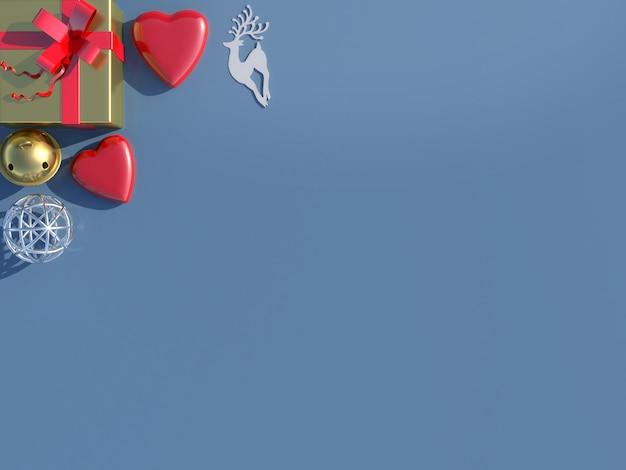 Vista superior das decorações de fundo de natal.
