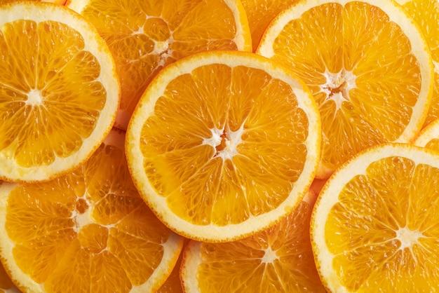 Vista superior das fatias de laranja