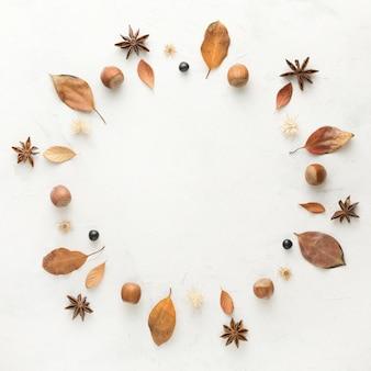 Vista superior das folhas de outono com anis estrelado e castanhas