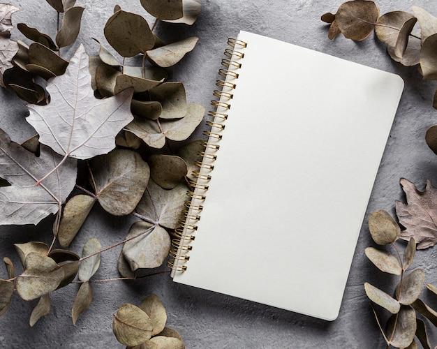 Vista superior das folhas secas e caderno