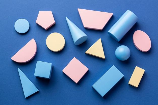 Vista superior das formas geométricas