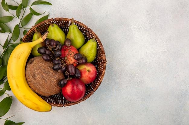 Vista superior das frutas como uma cesta cheia de pêra, pêssego, banana, coco, uva preta com folhas em fundo branco com espaço de cópia
