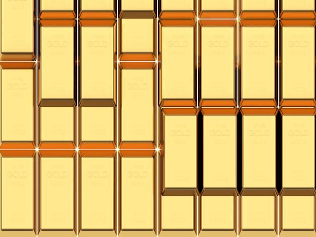 Vista superior das linhas de barras de ouro