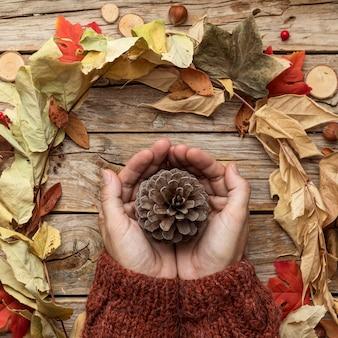 Vista superior das mãos segurando a pinha com folhas de outono
