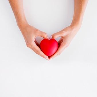 Vista superior das mãos segurando o formato de coração, dia mundial do coração