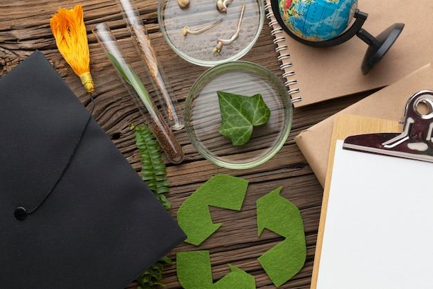 Vista superior das plantas e itens de estudo