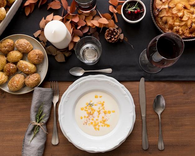 Vista superior das preparações alimentares para o dia de ação de graças