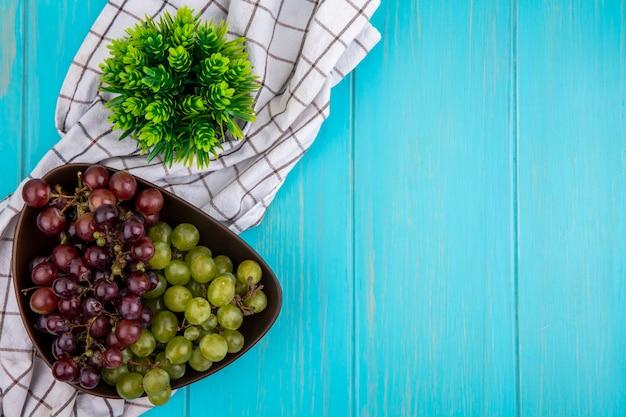 Vista superior das uvas em uma tigela e planta em fundo azul com espaço de cópia