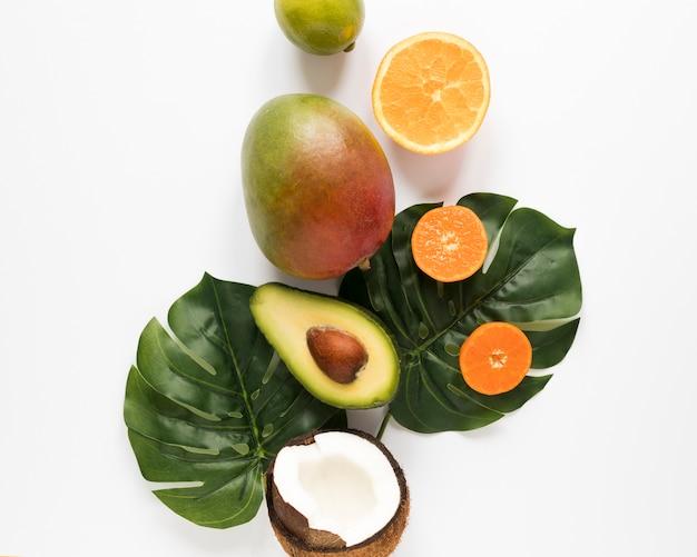 Vista superior de abacate orgânico com manga e coco