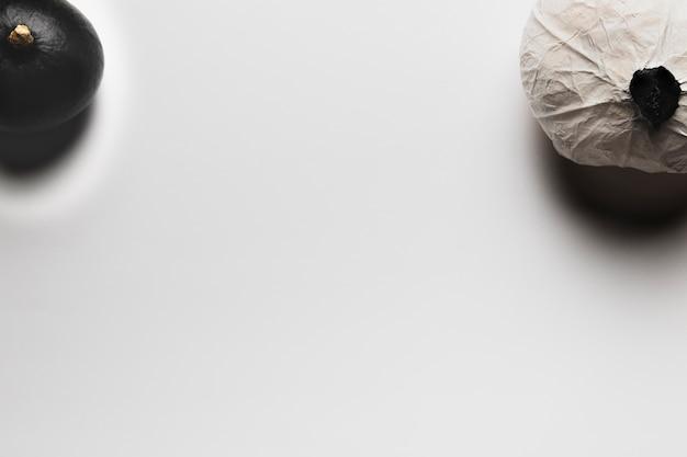 Vista superior de abóboras com cópia-espaço