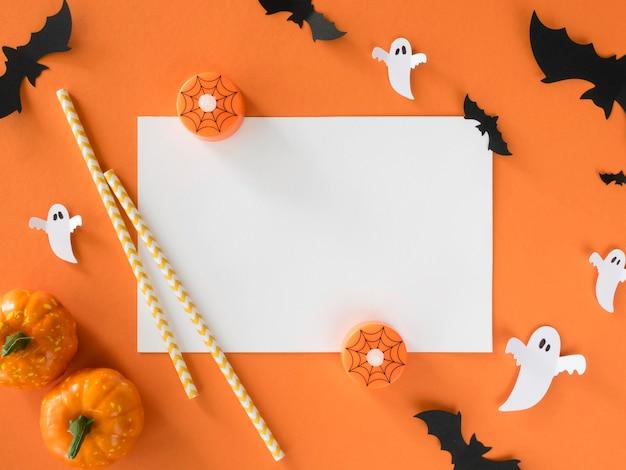 Vista superior de abóboras e morcegos de halloween