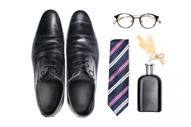 Vista superior de acessórios de moda para cavalheiro.