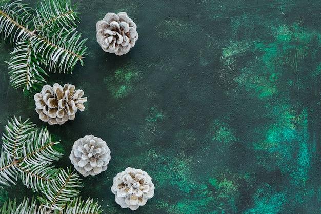 Vista superior de agulhas e cones de pinheiro em um fundo verde bonito