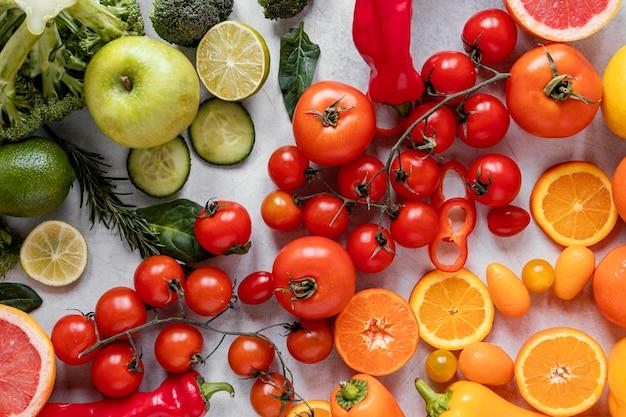 Vista superior de alimentos saudáveis para a composição de aumento de imunidade