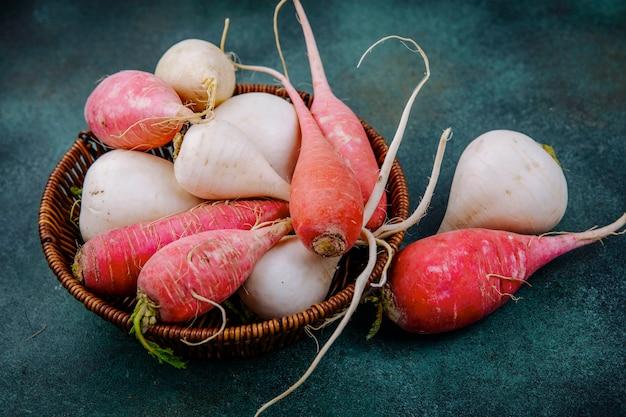 Vista superior de beterrabas de vegetais de raiz orgânica branca e vermelha rosada em um balde sobre um fundo verde