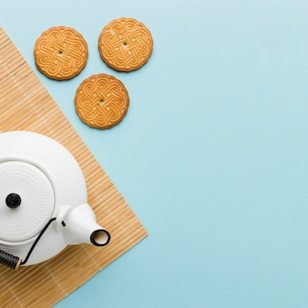 Vista superior de biscoitos caseiros com espaço de cópia