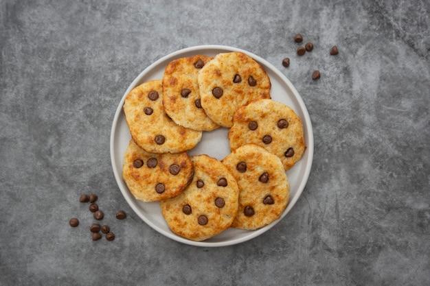 Vista superior de biscoitos de chocolate